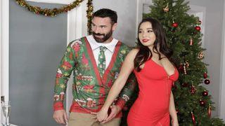 Лучший рождественский подарок для этой тёлки - жёсткий секс