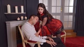 Парень разрывает задницу брюнетке в красном платье